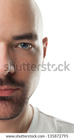 Bald man model on a white background. Taken close up. - stock photo