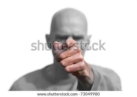 bald man pointing finger isolated on white - stock photo