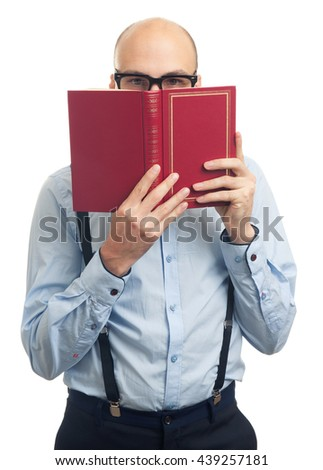 bald man reading a book isolated over white background - stock photo