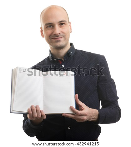 bald Man shows blank Diary. Isolated on white - stock photo