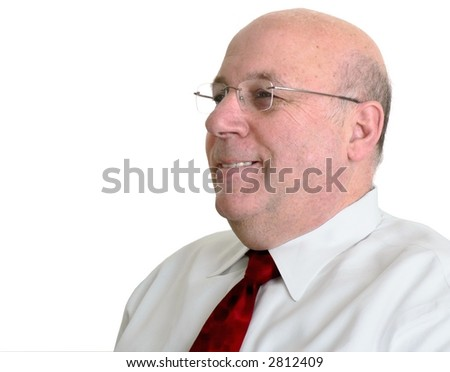 Bald man smiling - stock photo