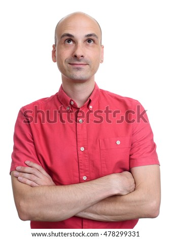 bald man wearing red shirt looking up. Isolated on white