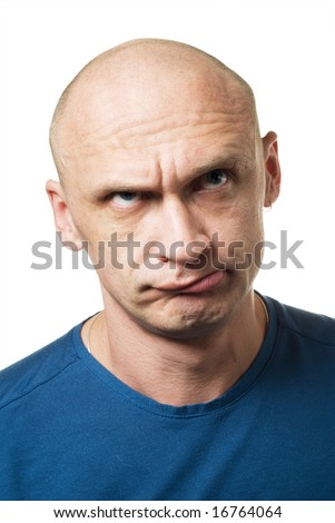 Bald man with strange facial expression