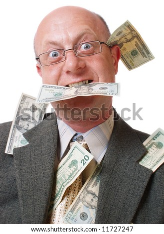 bald men with money isolated on white