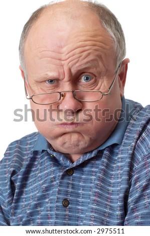 Bald senior man fooling around. Isolated on white. Emotional portraits series. - stock photo