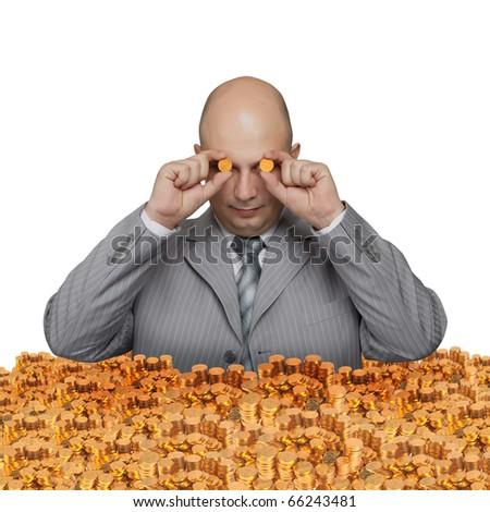 Bald young businessman with a small coin. Funny business image.