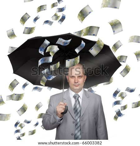 Bald young businessman with banknotes and umbrella . Funny business image.