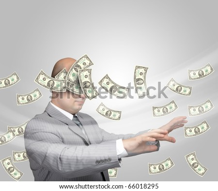 Bald young businessman with banknotes. Funny business image.