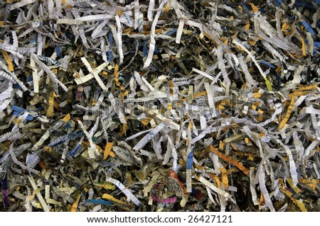 bale of books and magazine shredded for recycling - stock photo