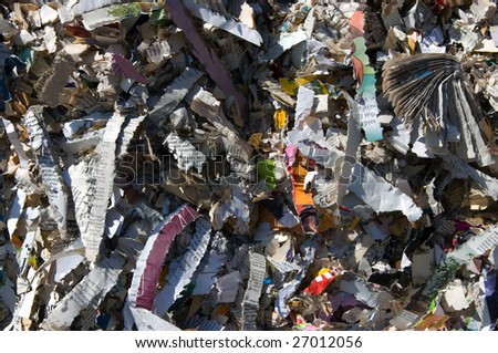 bale of books and magazine shredded for recycling