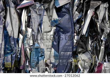 Bale of compressed printing plates for recycling - stock photo