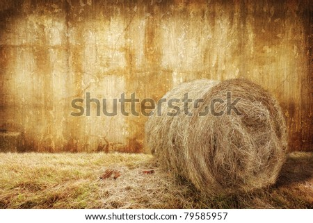 Bale of hay in a barn - stock photo
