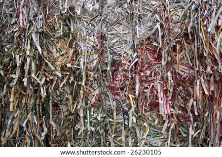 Bale of press trimming paper - stock photo