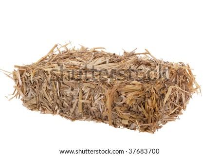 Bale of straw bound with quadratic form - stock photo