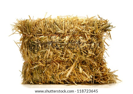 Bale of tied natural farming straw hay on white - stock photo