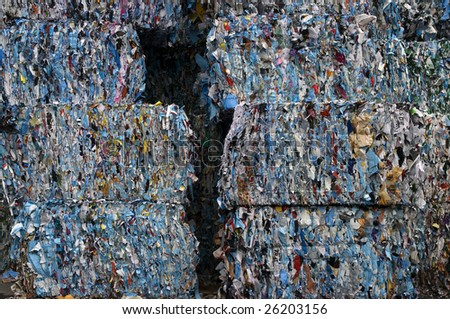 Bales of recycling poster paper - stock photo