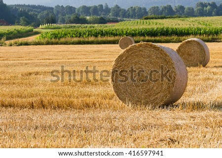 Bales of straw on stubblefield