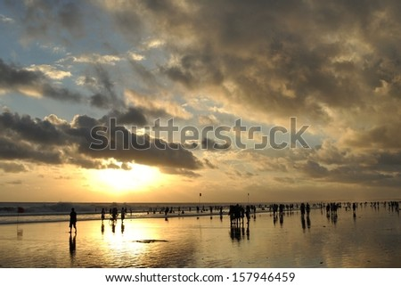 Bali beach sunset - stock photo