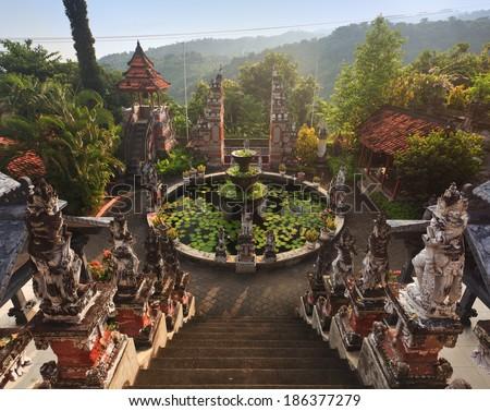 Bali budhist temple Banjar, Indonesia - stock photo