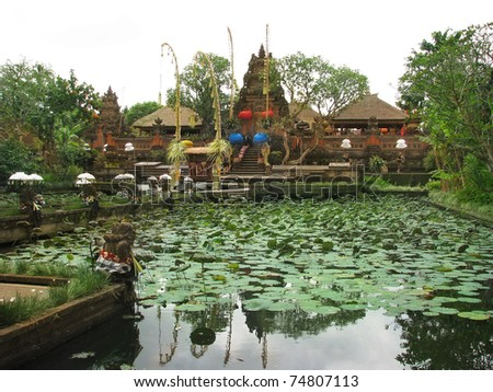 Bali: gorgeus Pura Saraswati temple at the lovey village of Ubud. Bali, Indonesia - stock photo