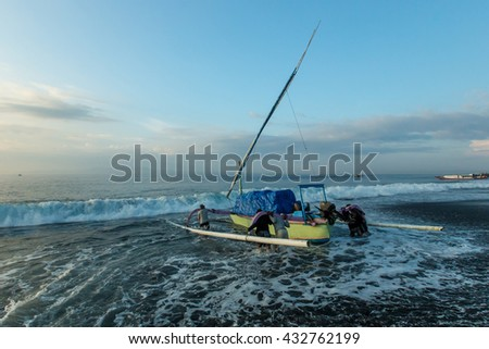 Bali Indonesia Apr 3, 2016 : Morning scene at Kusamba Beach Bali Indonesia. Kusamba Beach is a fisherman village and well known for its traditional salt farming activity.