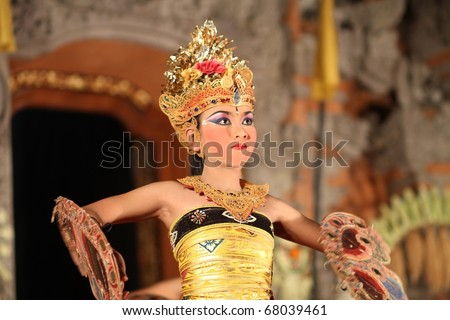 BALI, INDONESIA - APRIL 21: Traditional dances are performed by local professional actors during the annual Ubud Dance Festival on April 21, 2010 ini Bali, Indonesia.