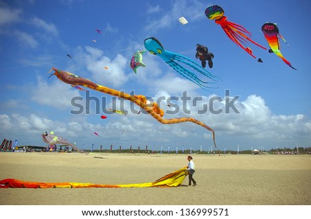 BALI, INDONESIA - AUGUST 15: Kite competition at the annual Sanur Beach Games on August 15, 2009 in Sanur, Bali, Indonesia. - stock photo