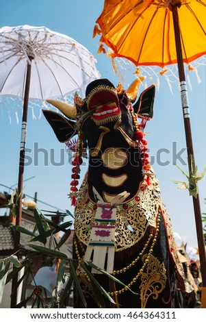 BALI, INDONESIA - 05 August 2016: Public cremation ceremony.  Sculpture of a bull made to get burnt