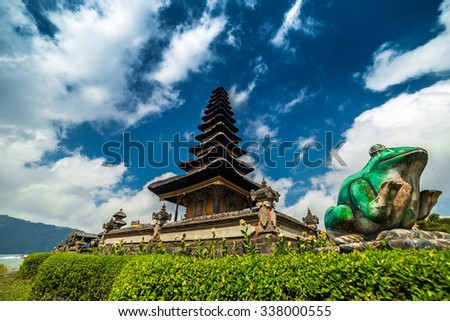 Bali, Indonesia. Clouds over the temple Pura Ulun Danu Bratan - stock photo