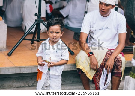 BALI, INDONESIA - JAN 15, 2014: Religious holiday on Jan 15, 2014 in Bali, Indonesia - stock photo