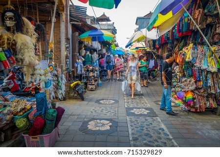 BALI, INDONESIA - MARCH 16, 2016: View of the commercial and trading activities of the main market in Ubud town on Bali Island Indonesia