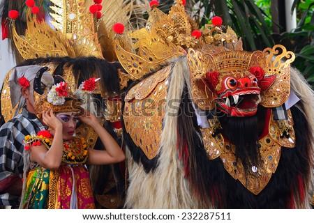 BALI, INDONESIA - NOVEMBER 12: Barong dance on November 12, 2014 in Bali, Indonesia. Barong is a religious dance in Bali based on the great Hindi epics of Ramayana. - stock photo