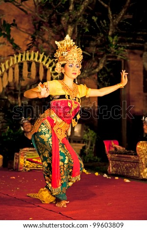 BALI - JANUARY 19: Legong Trance & Paradise Dance venue Ubud Palace. Ubud is the home of traditional culture in Bali. January 19, 2012 in Bali, Indonesia.