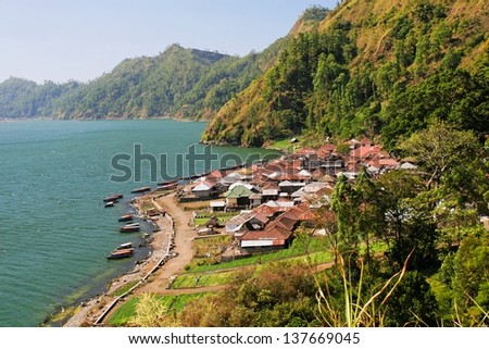 Bali. Lake. View from the mountain. - stock photo