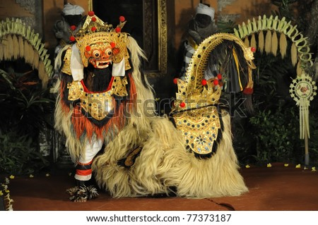 BALI - MAY 4: Legong and barong dance is performing by sekehe Gong Panca Artha at Ubud Place in Ubud, Bali. May 4, 2011 in Bali, Indonesia. - stock photo
