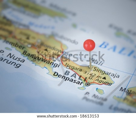 Bali on the map with a pin - stock photo