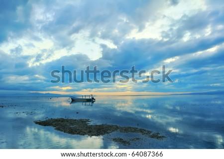 Bali Sanur Beach at dawn - stock photo