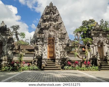 Bali temple at Ubud, Indonesia - stock photo