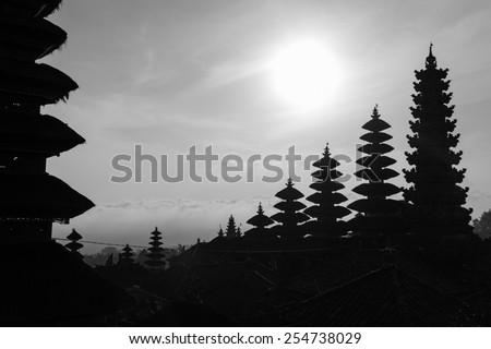 Bali temple silhouette - stock photo