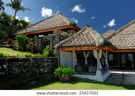 Bali tropical villa with beautiful garden - Uluwatu - stock photo