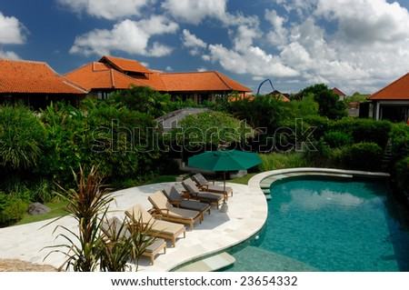 Bali Vila with swimming pool - stock photo