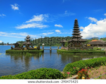 Bali water temple on lake, Indonesia - stock photo