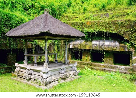 Balinese architecture in the forest. - stock photo