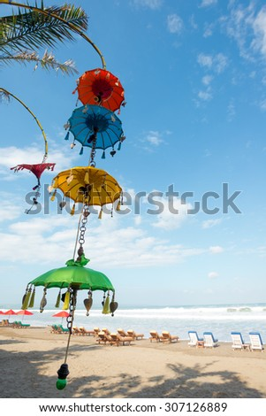 Balinese Decorations, Seminyak Beach, Bali, Indonesia - stock photo