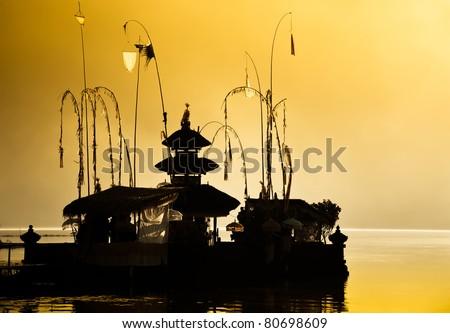 Balinese Hindu temple at dawn - stock photo