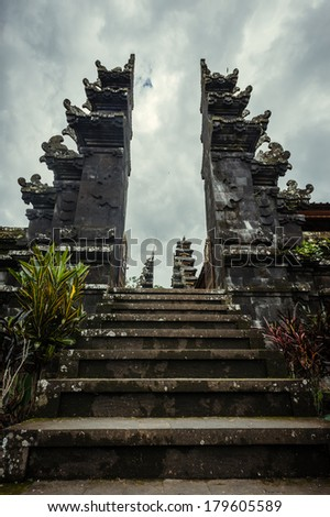 Balinese hindu temple in Mother Temple of Besakih, Bali, Indonesia - stock photo