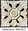 Balinese stone craft - Sunflower design - stock photo