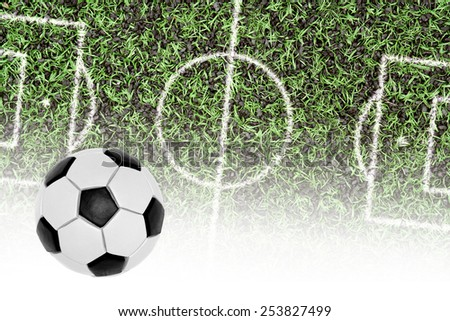 Ball and a fragment covering football pitch with markings - stock photo
