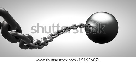Ball and chain - stock photo