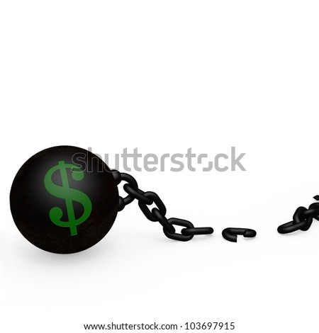 Ball and Chain - Dollar - Broken Free. A broken link freeing  the reliance on money. - stock photo